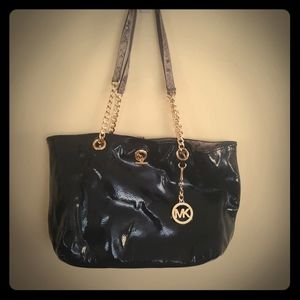 MK  patent leather and snakeskin reversible bag